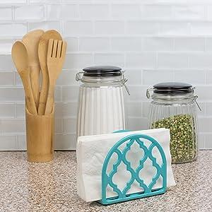 ceramic napkin holder, metal napkin holder, crystal napkin holder, vintage napkin holder