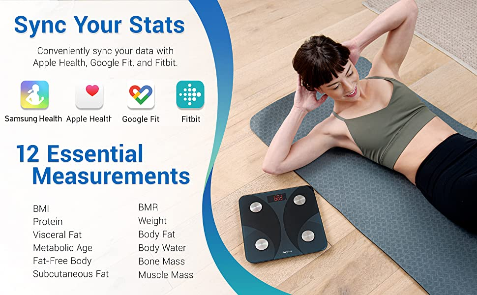 This scale can sync data with Apple Health, Samsung Health, Google Fit, Fitbit and give 12 data
