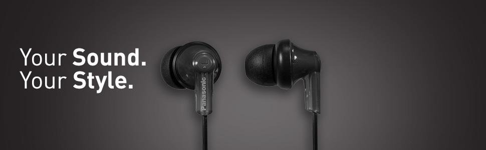 Panasonic ErgoFit In-Ear Earbuds Headphones RP-HJE120-K
