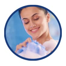 Work into a rich lather with the loofah and gently rub it on your moist skin.