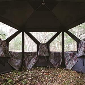 Extremely Broad View - Barronett Blinds BC350BB Big Cat Pop Up Portable Hunting Blind, Bloodtrail Blades Camo