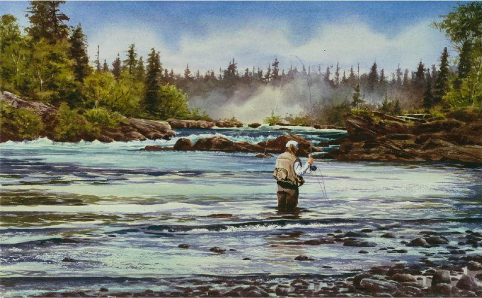 casting; women fishing; classic art books; fly fishing books; hunting books; watercolor paintings