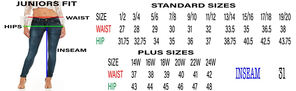 Cover girl size chart jeans