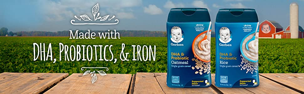 Made with DHA, Probiotics, and iron
