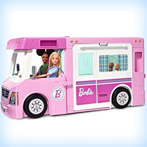 Barbie Camper dei Sogni 3 in 1  Playset con 3 Veicoli e 50 Accessori