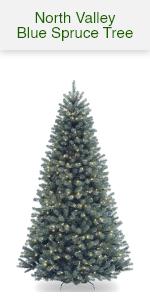 North Valley Blue Spruce w/ White Lights