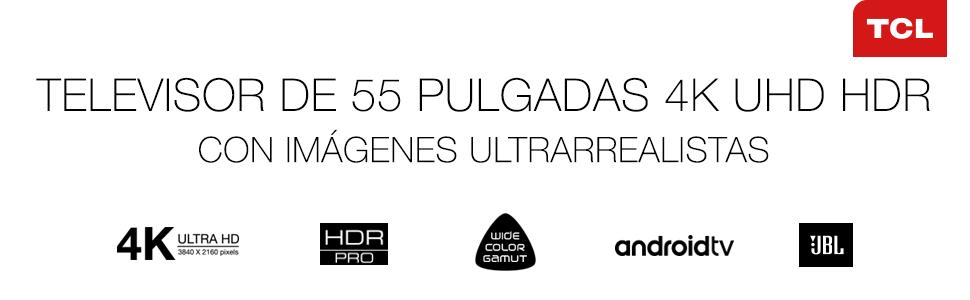 TCL 55DC762 - Televisor Smart TV de 55 pulgadas con 4K UHD, HDR PRO, Wide Color Gamut, Android TV y JBL de Harmon Kardon, acabado en titanio cepillado: Amazon.es: Electrónica
