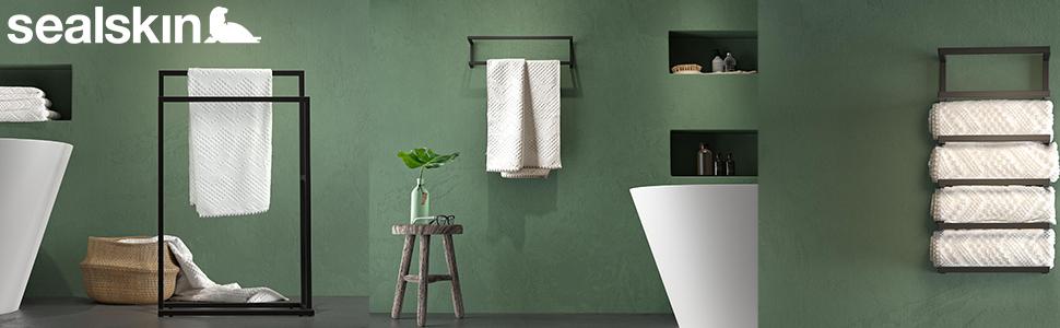Sealskin, carre, handdoekhouder, handdoekenrek, handdoekenrek, handdoekstang, zwart, zonder boren