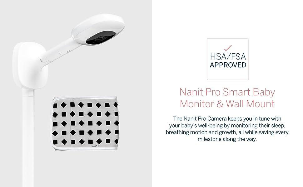 Nanit Pro Smart Baby Monitor & Wall Mount. HSA/FSA Approved.