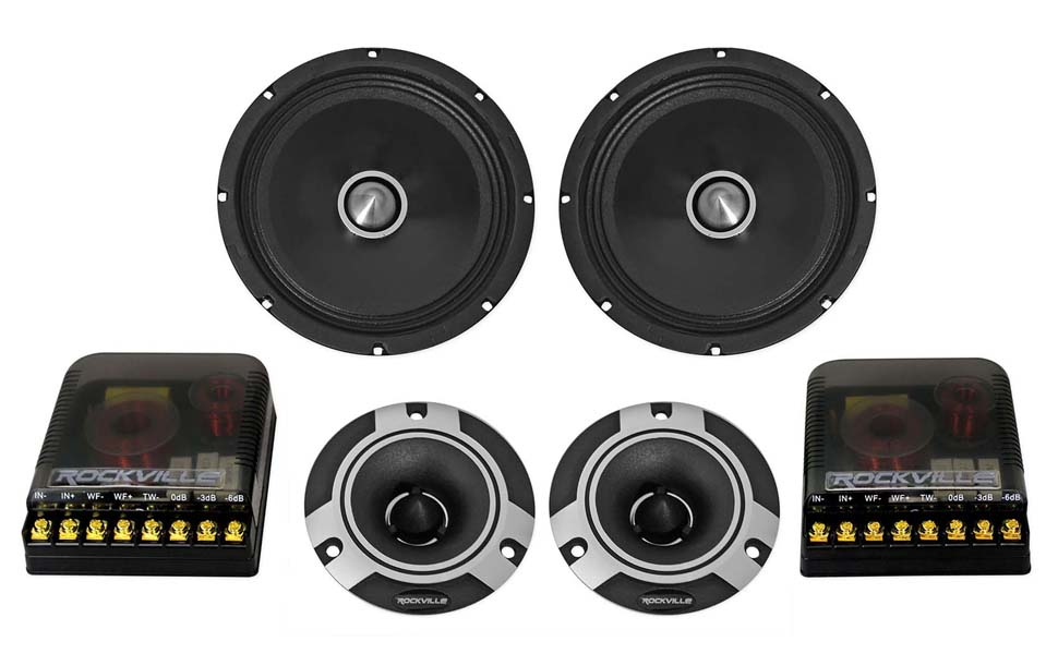 Door Speakers for Car or Truck Stereo Sound System DS18 PRO-GM8.4PK Mid and High Complete Package Includes 2X Midrange Loudspeaker 8 and 2X Aluminum Super Bullet Tweeter 1 Built in Crossover