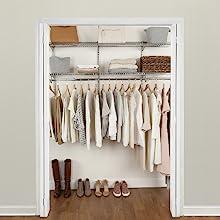rubbermaid configurations closet kit rods shelves hooks