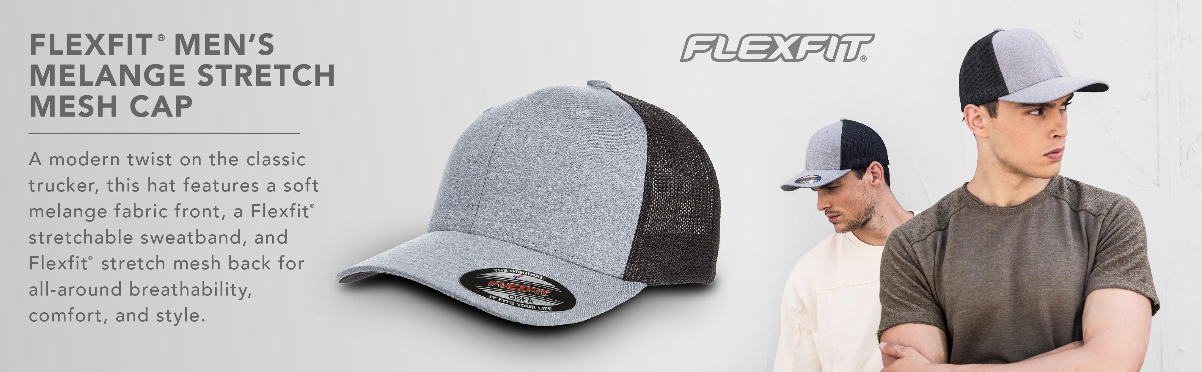 1d01f339 Flexfit Mens 6311 Melange Stretch Mesh Cap Hat - Gray - One Size ...
