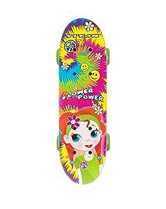 barbie, flower power, flower, pink flower, cherry blossom flower, punisher skateboard, girls skates,