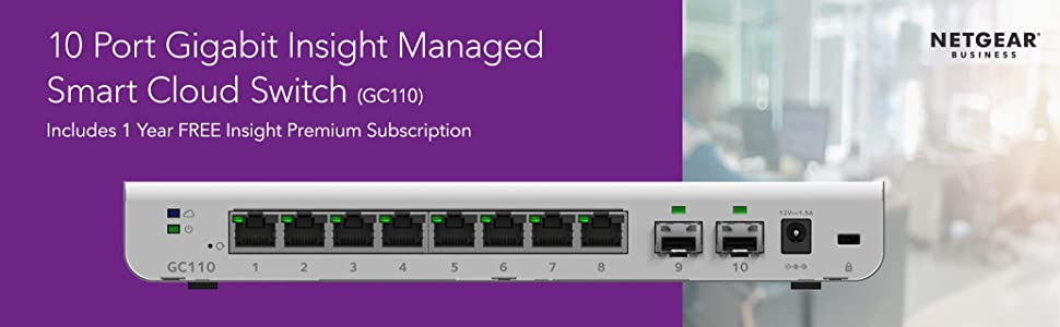 10 port gigabit insight managed smart cloud switch gc110