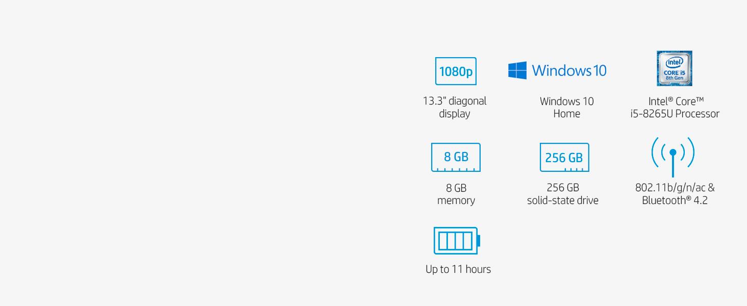 13.3 inch 13 intel core i5 8gb memory 256gb solid state drive ssd 802.11 b/g/n/ac bluetooth 4.2
