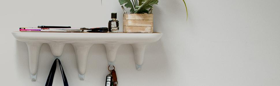 Mod Made MM-SW10005-White White Dripping Coat Rack Bookshelf,