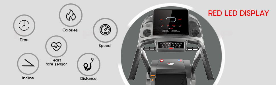 PowerMax Fitness TDA-500 Semi Auto lubrication Treadmill with RED LED Display