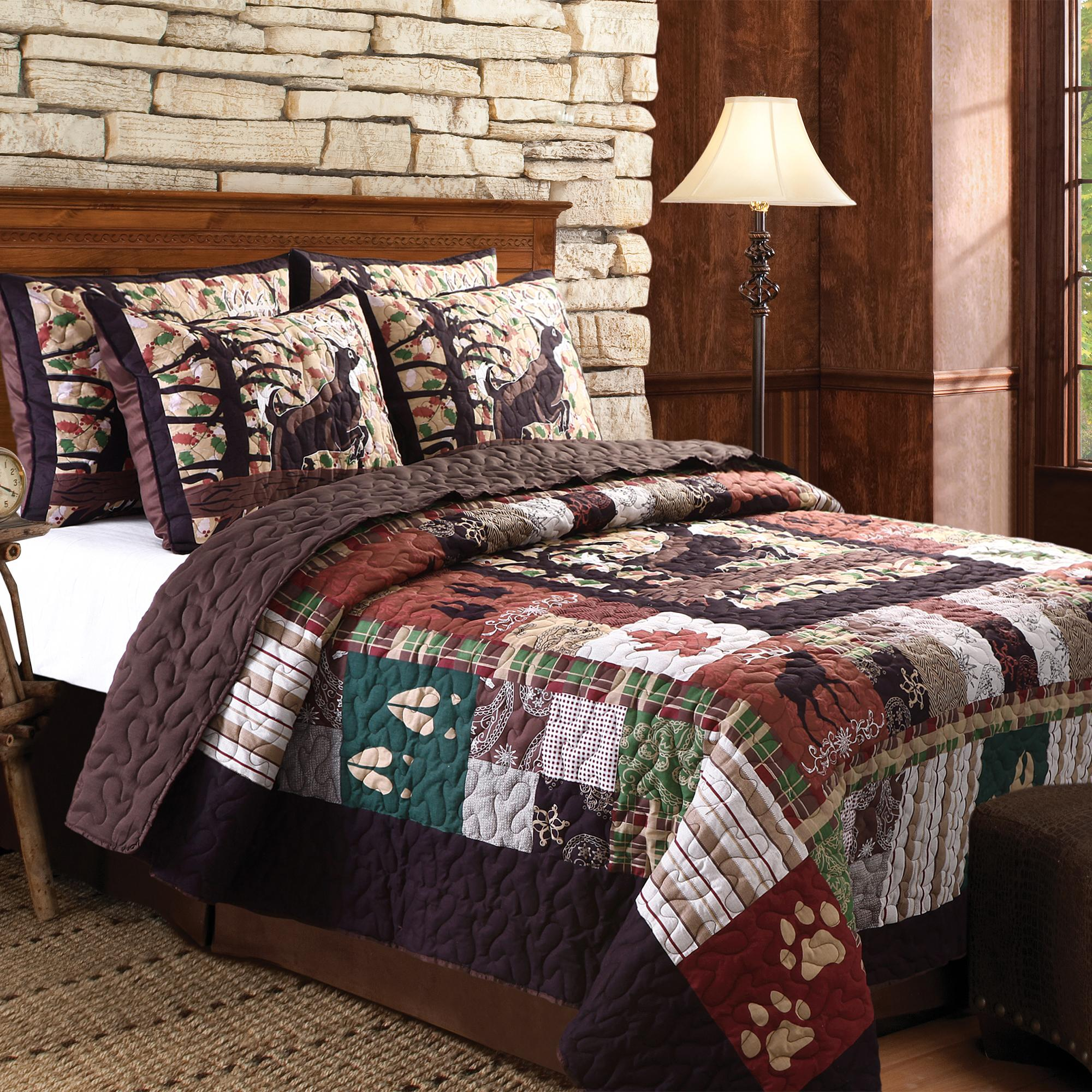Greenland home 3 piece whitetail lodge quilt for Quilted kitchen set