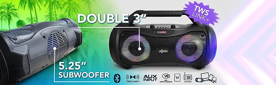 axess mpbt6507 portable boombox speaker mic karaoke remote