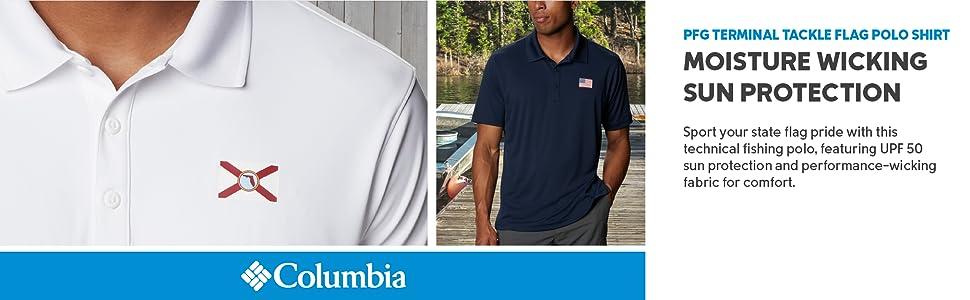 Columbia Men's PFG Terminal Tackle Flag Polo Shirt