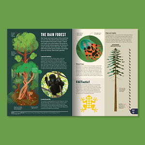 page spread open book tree trees nature monkeys gorillas redwood outdoors