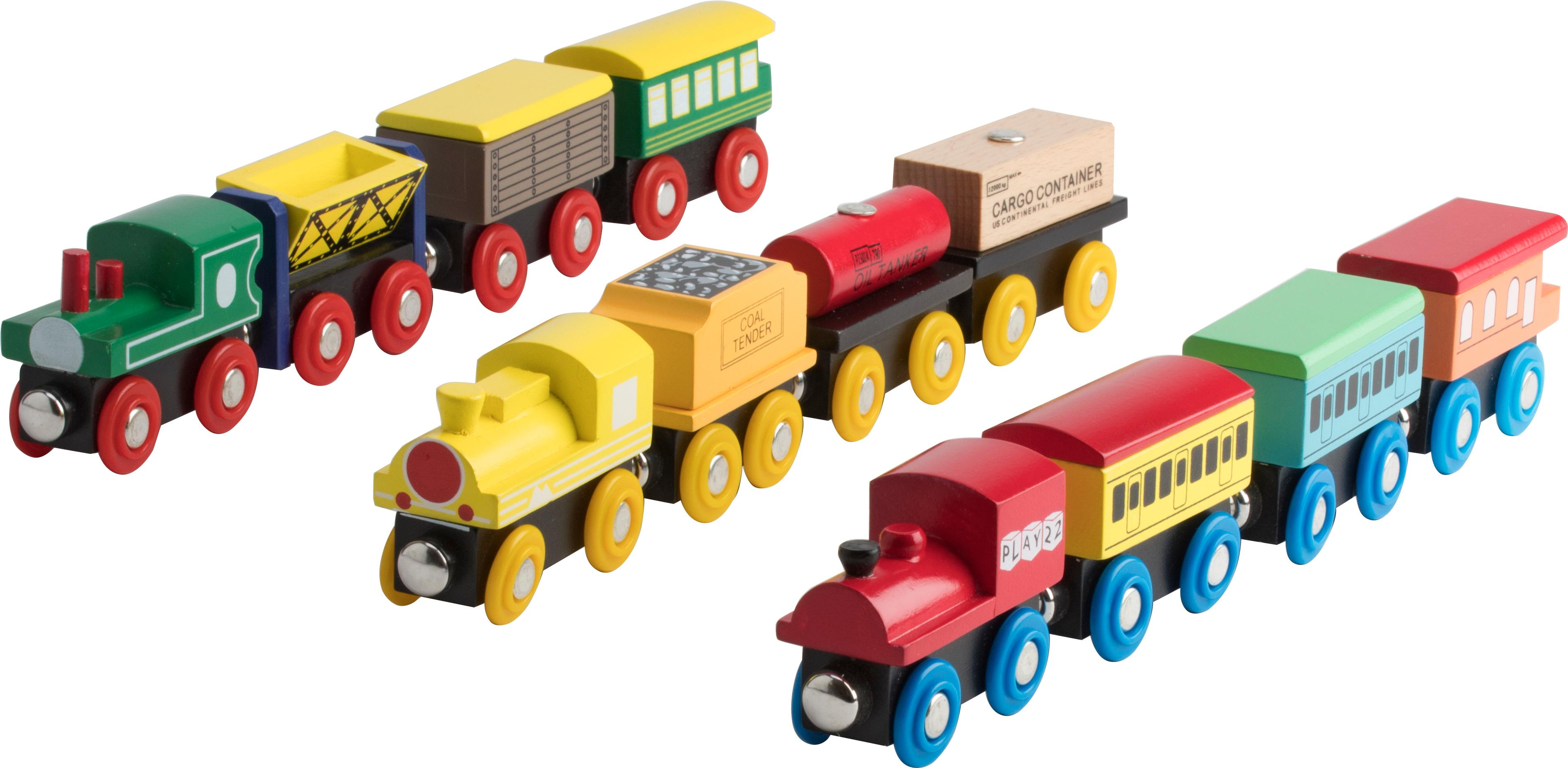 Wooden Train Set 12 Pcs Magnetic Includes 3 Engines Toy