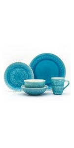 Fez 20 Piece Place Setting In Turquoise
