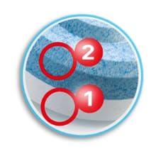 Twee actieve materialen in navulverpakking (tegen vocht en geur).