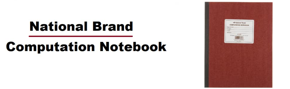 National Brand Computation Notebook, 4 X 4 Quad, Brown, Green Paper, 11 75  x 9 25 Inches, 75 Sheets (43648)