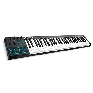 Alesis V61 - Teclado controlador USB-MIDI de 61 teclas con 8 pads sensibles retroiluminadas, 4 potenciómetros y botones asignables, y un paquete de ...