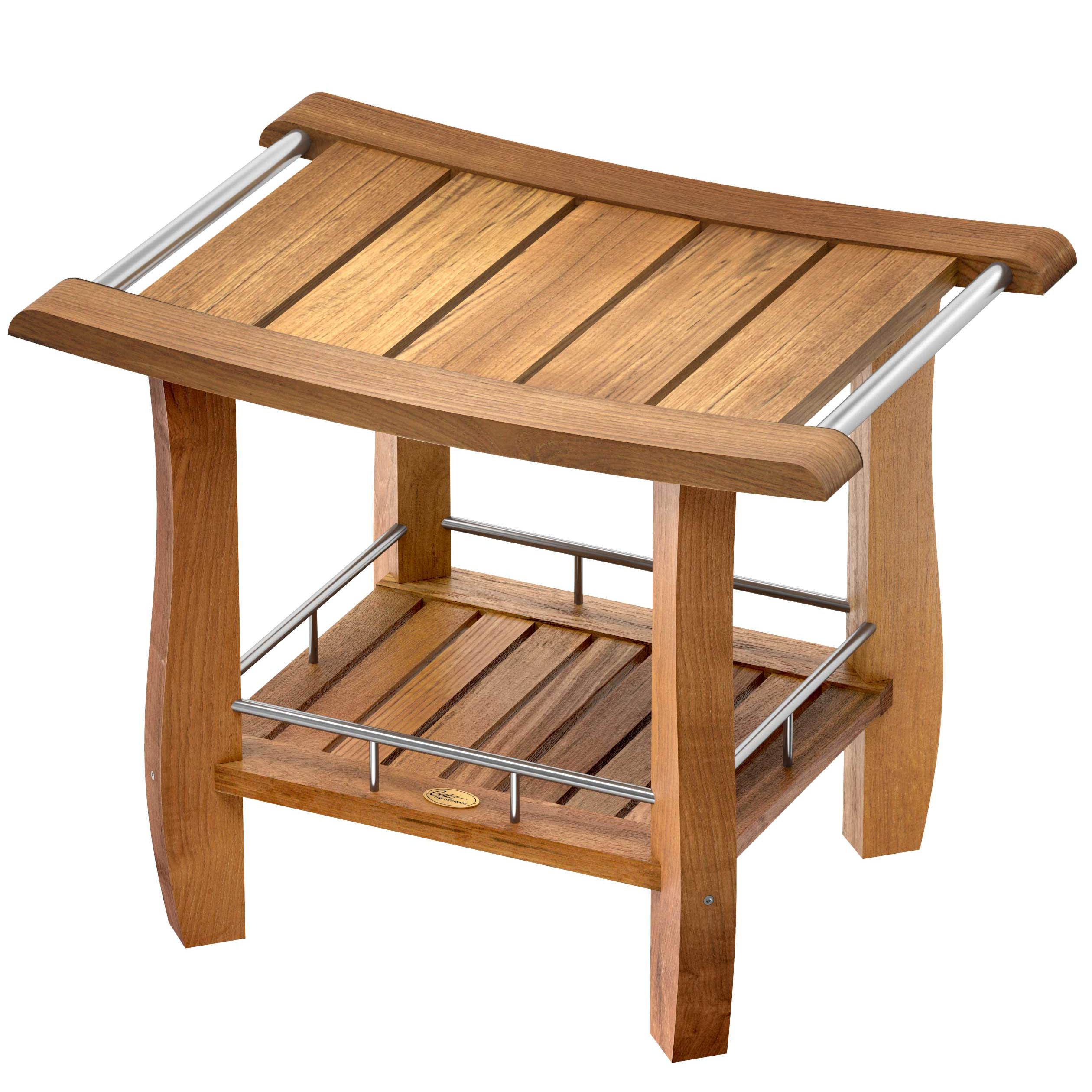 Gatco 1921 Teak Fully Assembled Rectangle Shower Bench with Storage ...