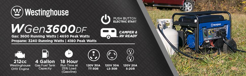 wgen3600df westinghouse dual fuel electric start push button gas propane power portable generator