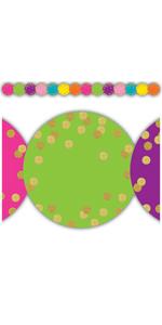 confetti circles die cut border trim