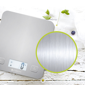 This scale is crafted with a durable, easy-to-clean stainless steel surface