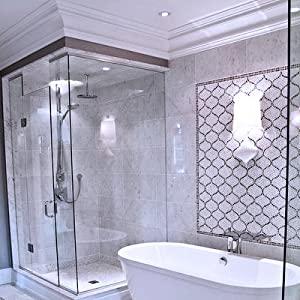 bathroom crown around shower and tub