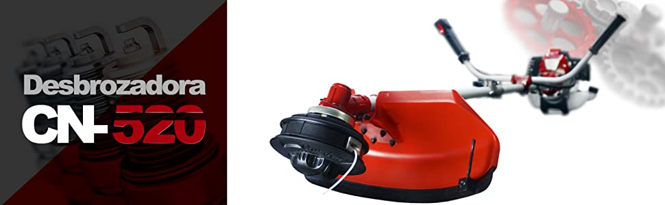KUDA CN-520 Desbrozadora Motor de Gasolina, 2 tiempos, Barra Partida con disco 3 puntas, cabezal de hilo, arnés, roja, 52 cc