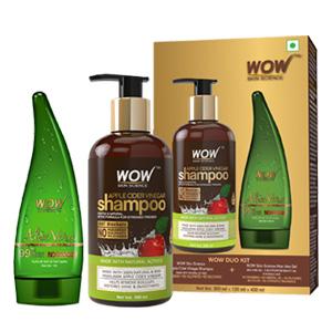 Wow Apple Cider Vinegar Shampoo, 300ml with 99% Pure Aloe Vera Gel
