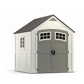 Suncast 4 x 8 Tremont Storage Shed with Windows - Natural Wood-Like Outdoor Storage for Power Equipment and Yard Tools - All-Weather Resin Material, ...