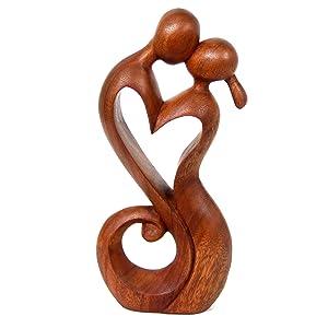 NOVICA Brown Romantic Suar Wood Sculpture, For Couples, Gift Purpose, Handmade, Bedroom Decor