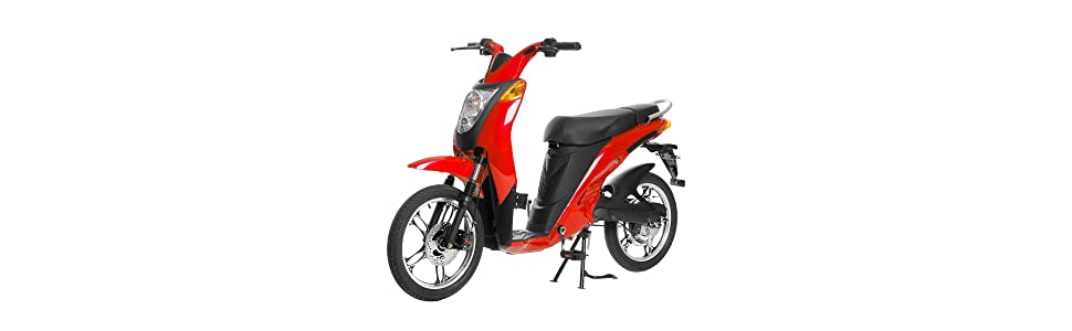Jetson Red Electric Bike Rechargeable Battery Powered Road Commuter Bike Moped Design