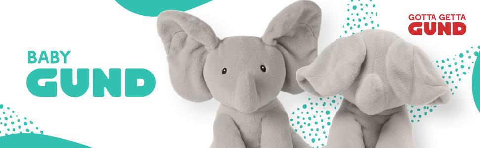 baby gund logo banner flappy elephant plush stuffed animal shower gift