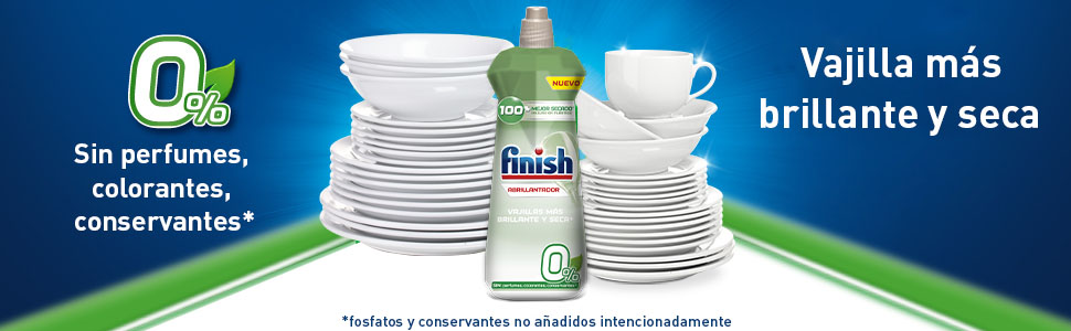 Finish 0% Abrillantador para Lavavajillas - 400 ml - 100 lavados ...