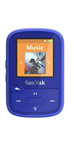 SanDisk Clip Sport Plus Wearable MP3 Player, 16GB Blue