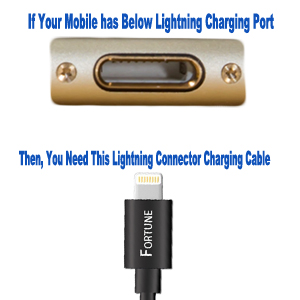 Select proper charging cable connector according to your mobile charging port type.