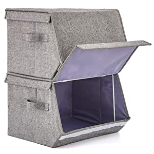 EZOWare Cajas de Almacenamiento Con Tapa están fabricados con tela de algodón resistente de un diseño único en tweed en espiga para una solución de ...