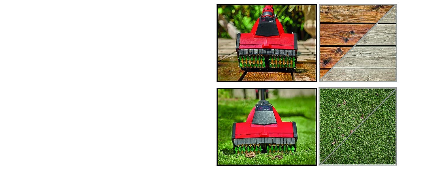 Li-Ion, 18V, 115 mm B/ürstendurchmesser, 215 mm Arbeitsbreite, integr. Gartenschlauchanschluss, inkl. B/ürste MEDIUM, 4,0 Ah Akku und Ladeger/ät Einhell Akku-Oberfl/ächenb/ürste PICOBELLA Power X-Change