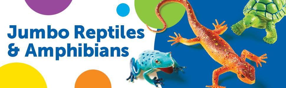 Learning Resources Jumbo Reptiles Amphibians I Tortoise Gecko Snake Iguana And Tree Frog 5 Animals