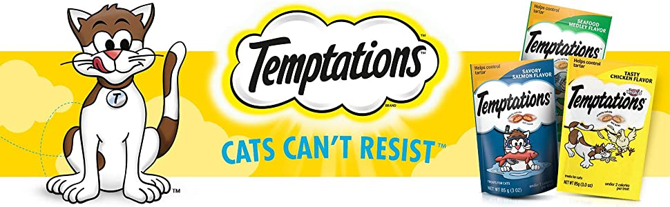 Cats can't resist, Temptations, Tasty Chicken, Seafood Medley, Savory Salmon, Cat Treats