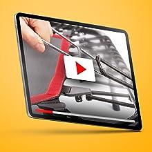 Vidéo avec instructions de montage sur une tablette.