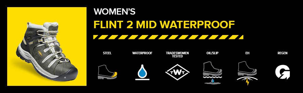 KEEN Utility Women's Flint 2 Mid Steel Toe Waterproof Work Boots